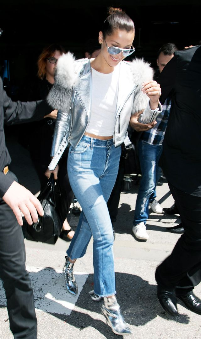 Topshop silver mirrored boots: Bella Hadid at Cannes