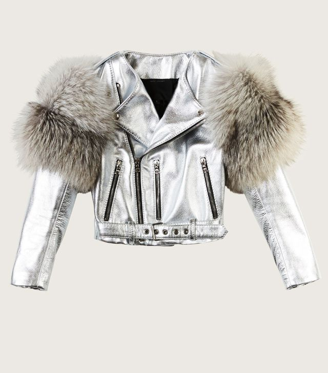 Marc Jacobs Metallic Moto Leather Jacket With Fur Sleeves