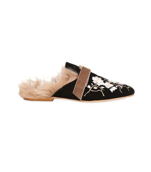 Gia Couture 10mm Embroidered Velvet & Fur Mules
