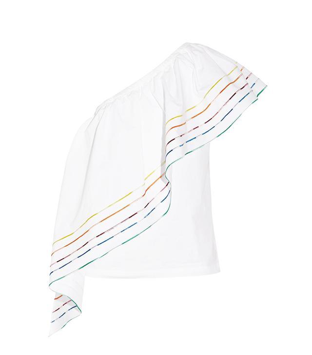 Rosie Assoulin Wedge One-Shoulder Ruffled Cotton Poplin Top