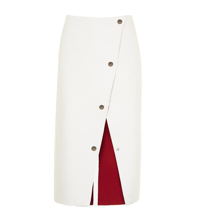 Topshop Petite Popper Midi Skirt