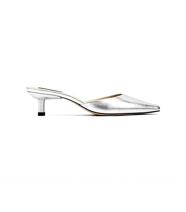 Zara Silver Toned Leather High Heel Mules
