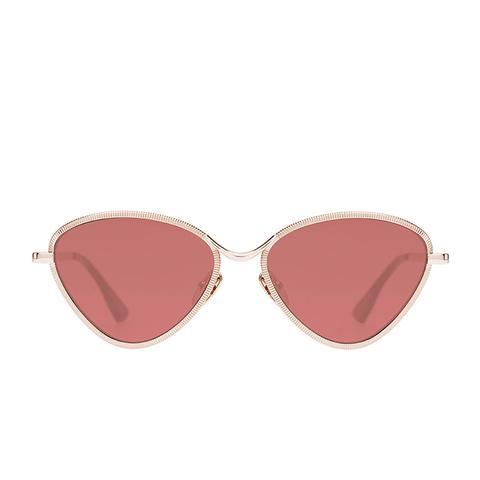 Bazaar Laser-Cut Geometric Sunglasses in Rose/Gold