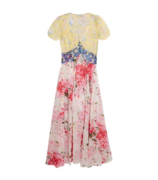 Attico Natalia Floral-Print Silk-Chiffon Dress