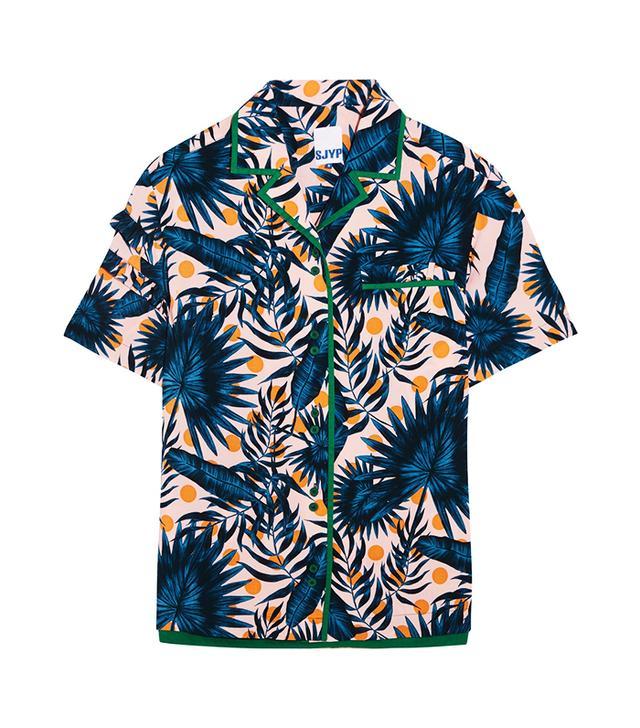 SJYP Steve J & Yoni P Ruffle-Trimmed Printed Cotton Shirt