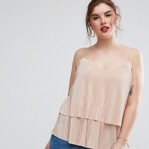 Plisse Double Layer Cami Top