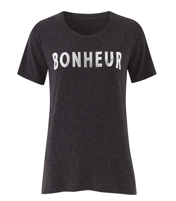 French slogan clothing: Sosandar Dark Grey Bonheur Print T Shirt