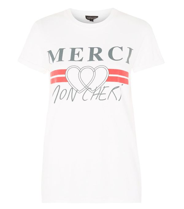French slogan clothing: Topshop Merci Graphic Print T-Shirt