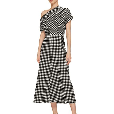 Off-the-Shoulder Gingham Midi Dress
