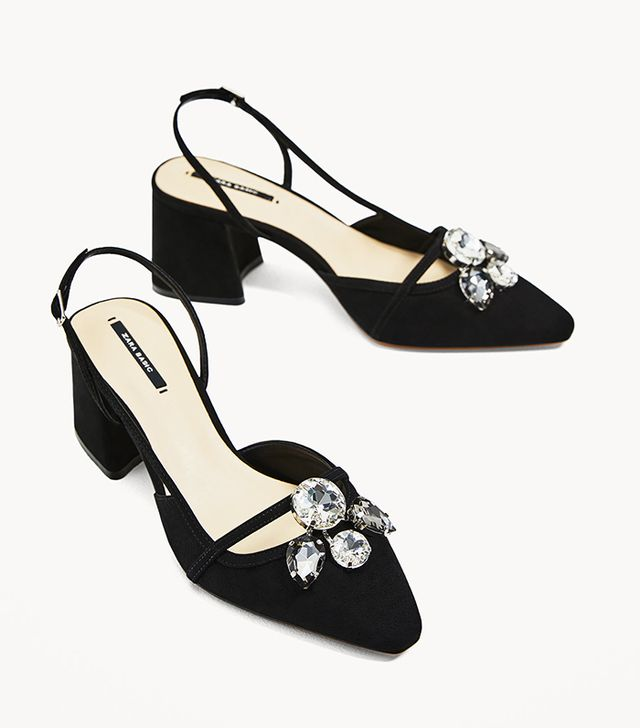 Zara Gem Slingback High Heel Shoes