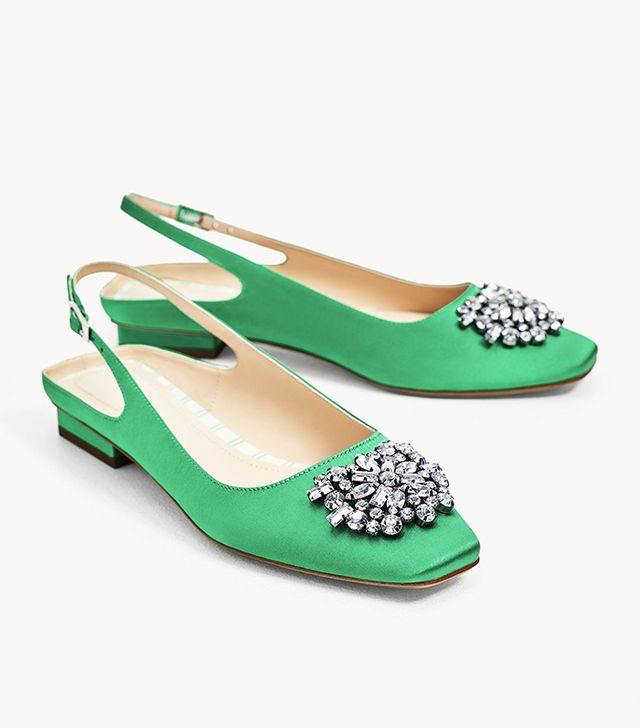 Zara Flat Slingback Shoes With Beaded Appliqué