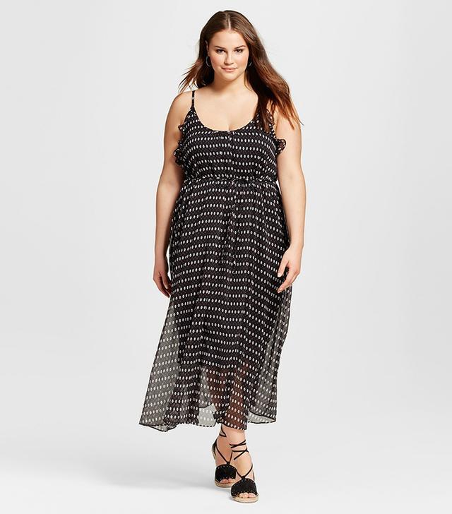 Who What Wear Plus Size Ruffle Trim Slip Dress