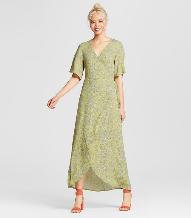 Who What Wear Flutter Sleeve Wrap Maxi Dress