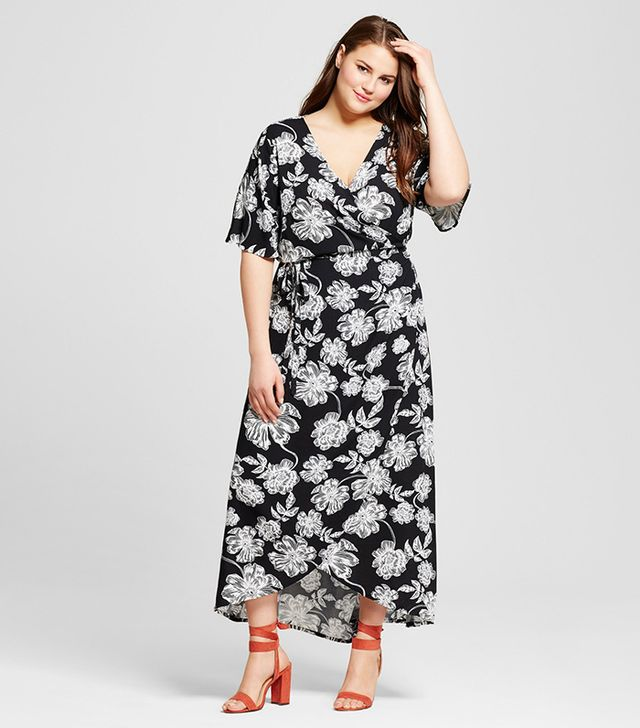Who What Wear Plus Size Flutter Sleeve Wrap Maxi Dress