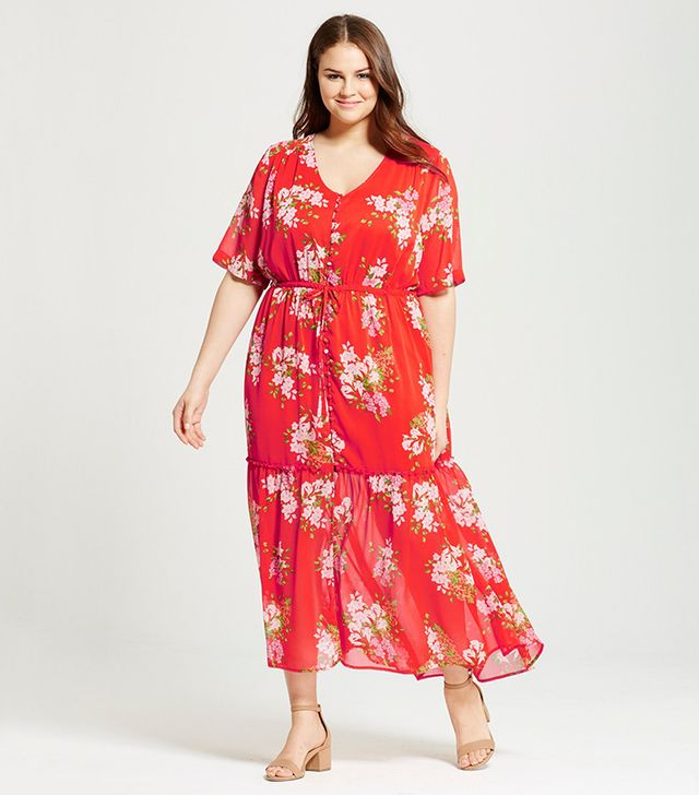 Who What Wear Plus Size Tiered Maxi Dress