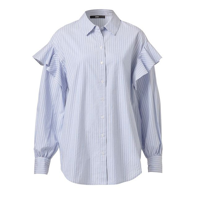 Sportsgirl Stripe Ruffle Shirt