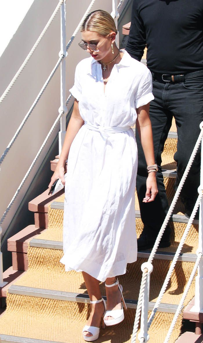 Hailey Baldwin white dress