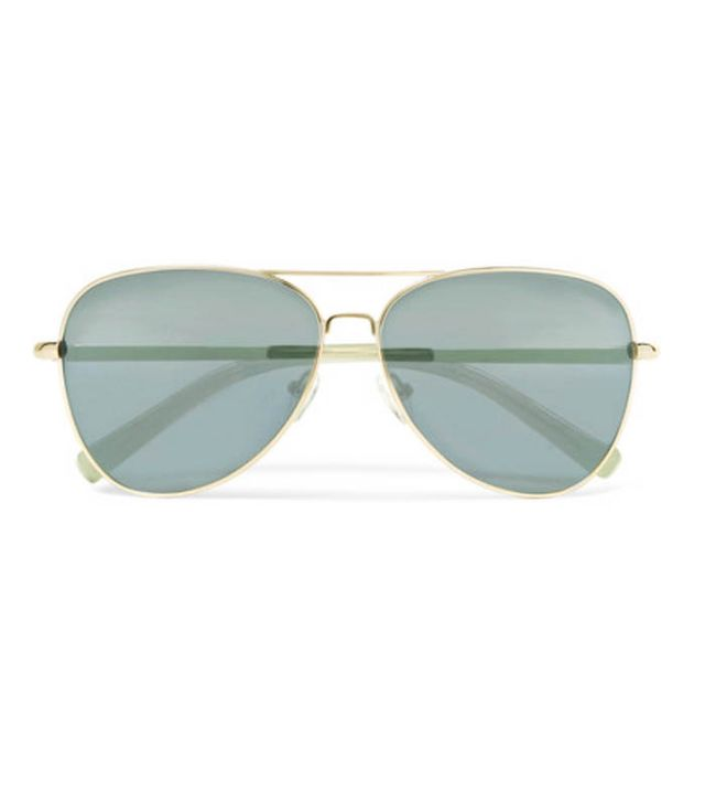 Elizabeth and James Stanton Aviator-Style Gold-Tone Mirrored Sunglasses