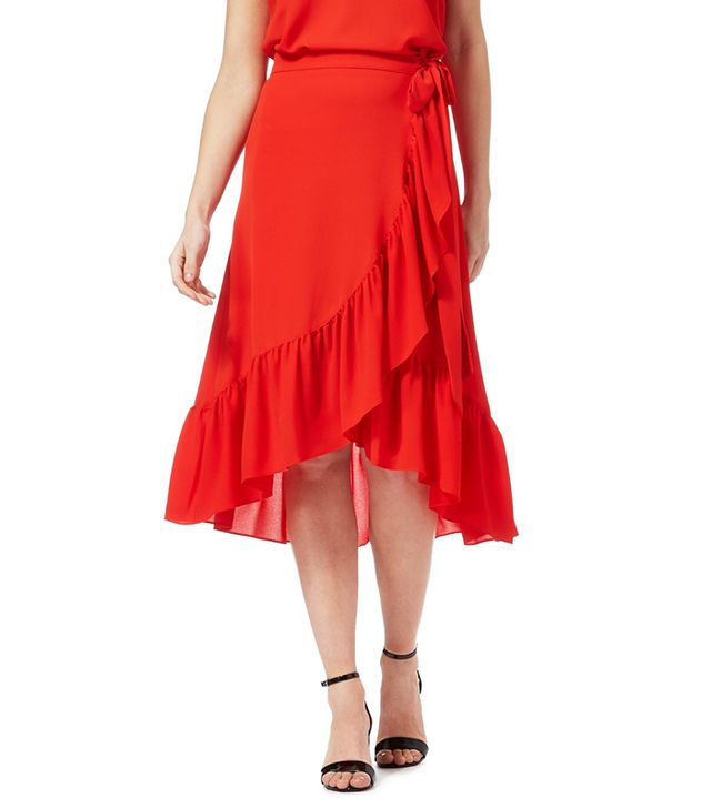Red Herring Red Frill Wrap Skirt