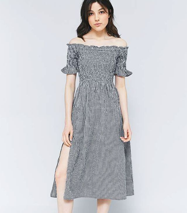 Kimchi Blue Picnic Gingham Off-the-Shoulder Midi Dress