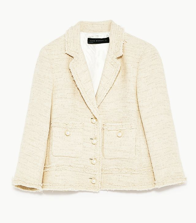 Zara Frayed Tweed Jacket With Pearls