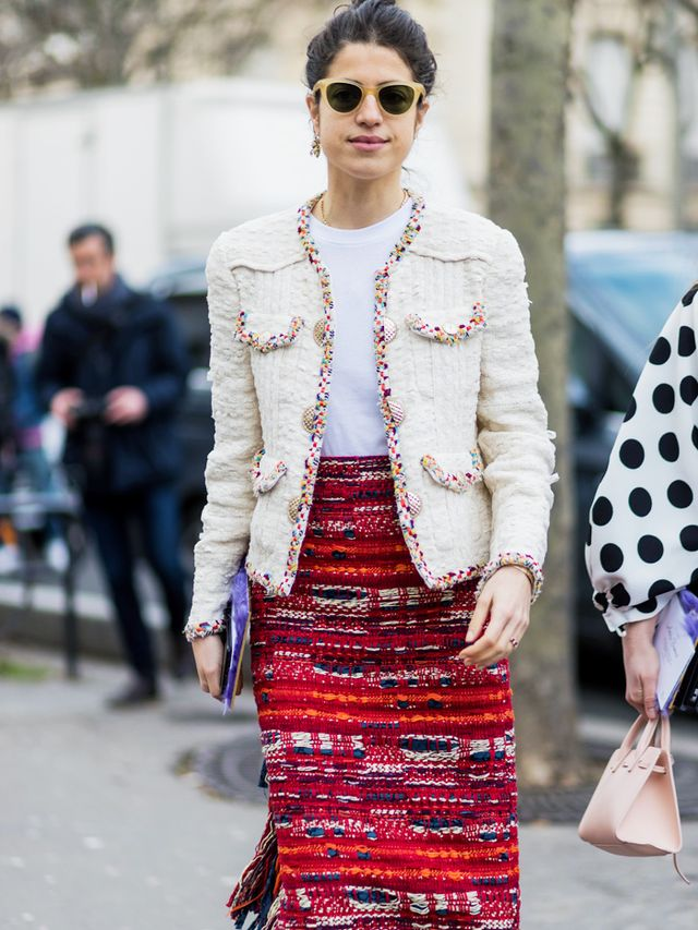 Leandra Medine in a Chanel boucle jacket