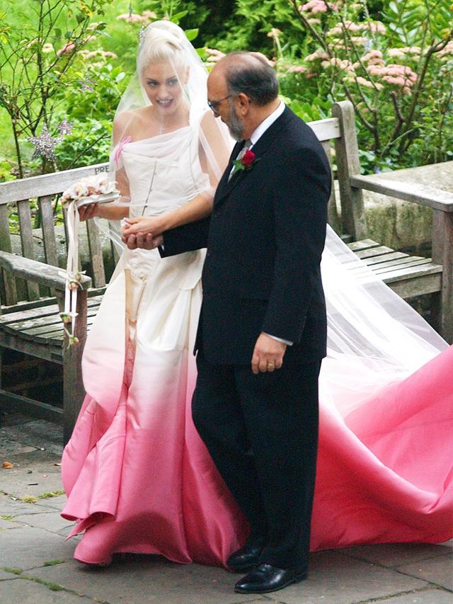 Gwen Stefani in her pink wedding dress by John Galliano, 2002