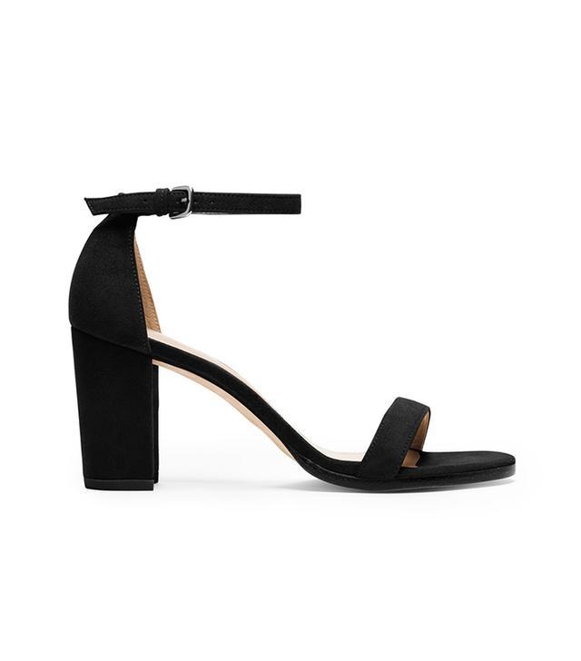 Stuart Weitzman NearlyNude Block Heel Sandals in Black
