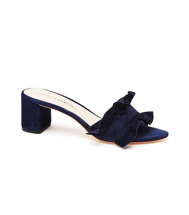 Loeffler Randall Vera Ruffle Slide Sandals in Eclipse