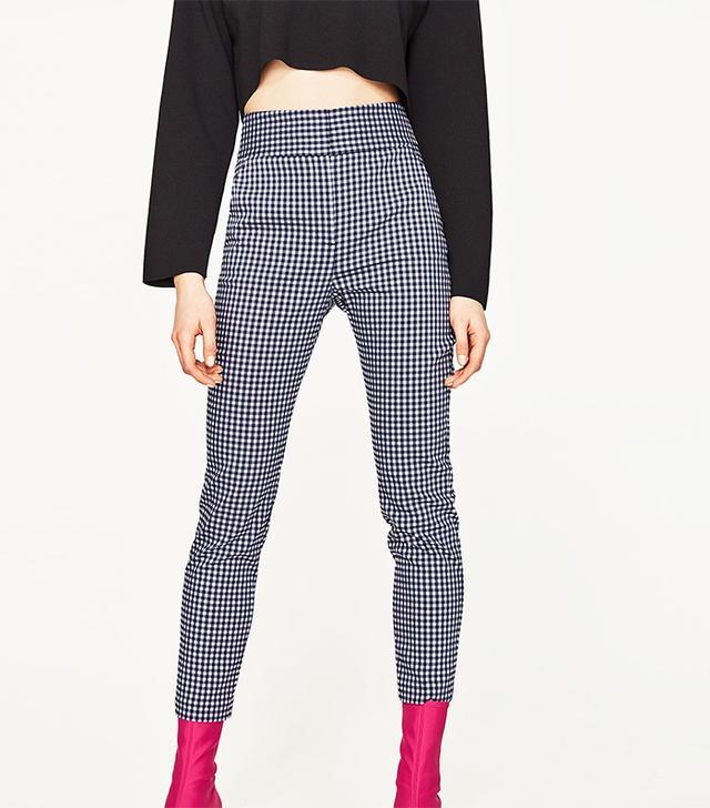 Zara High Waist Checked Trousers