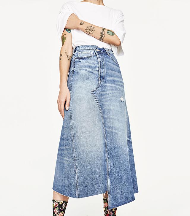 Zara Denim Midi Skirt