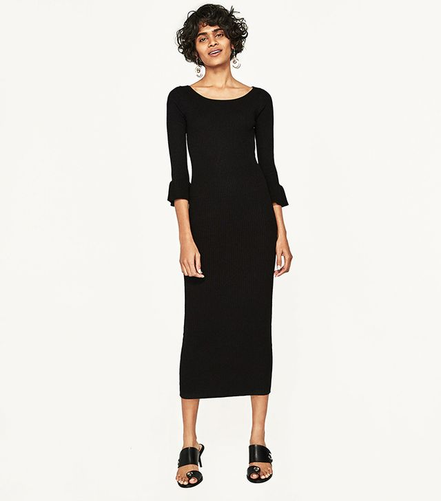 Zara Ribbed Dress With Flared Cuffs