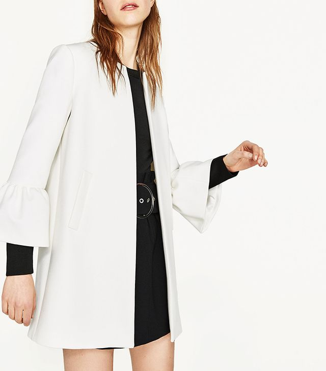 Zara Coat With Frilled Cuffs
