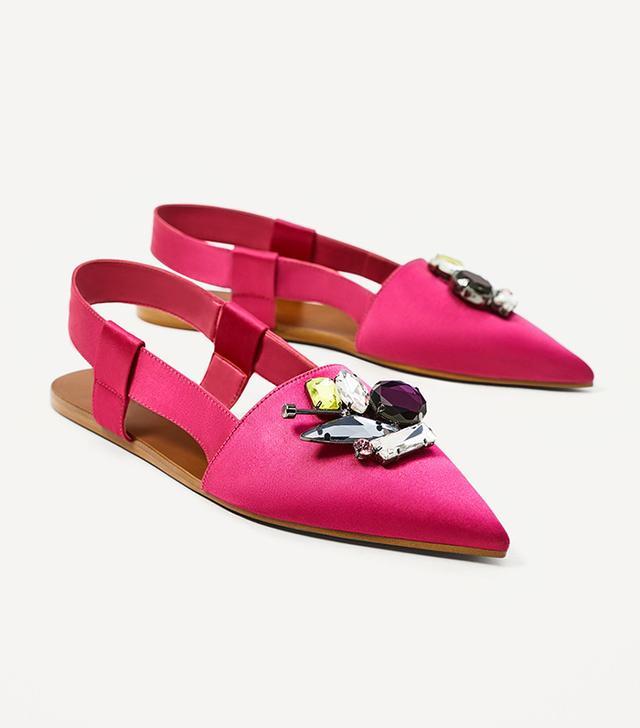 Zara Flat Slingback Shoes With Jewel Appliqué