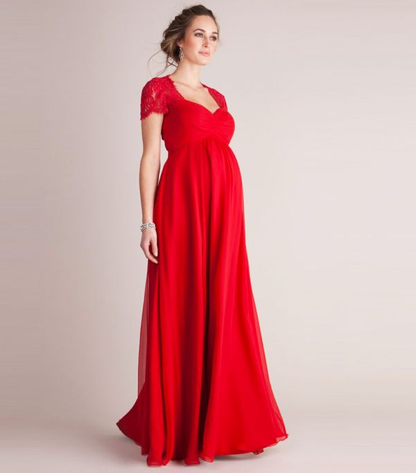 Best Maternity Wedding Guest Dresses Seraphine Scarlet Silk Lace Evening Gown