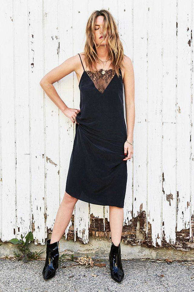 Anine Bing Deep V Lace Slip Dress
