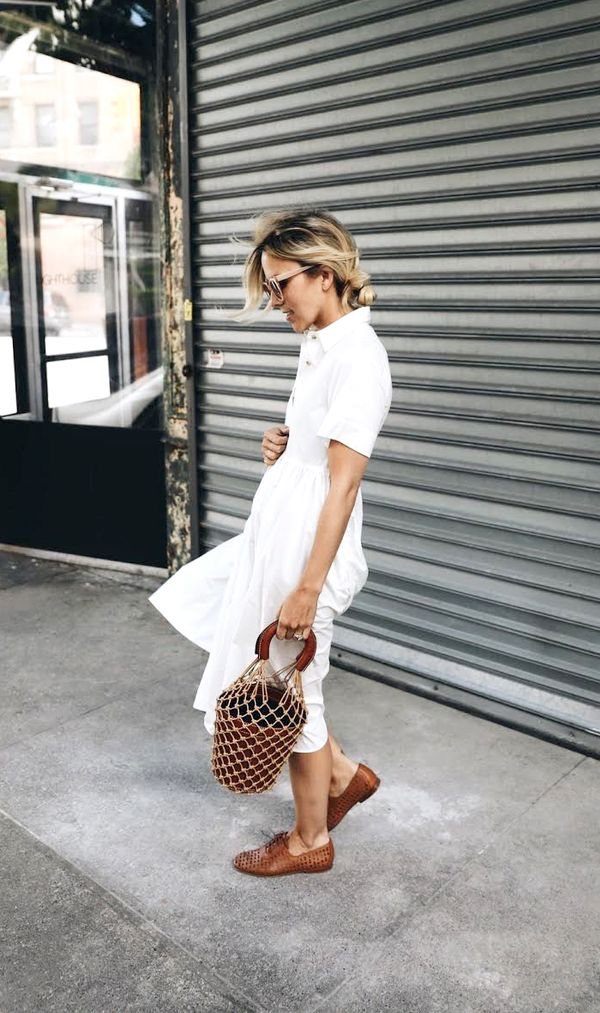 Shirtdress + Loafers + Net Bag