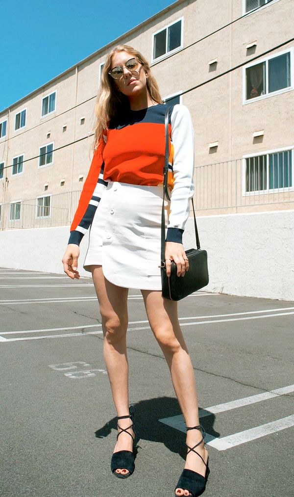 Colored Sweater + Miniskirt + Lace-Up Sandals