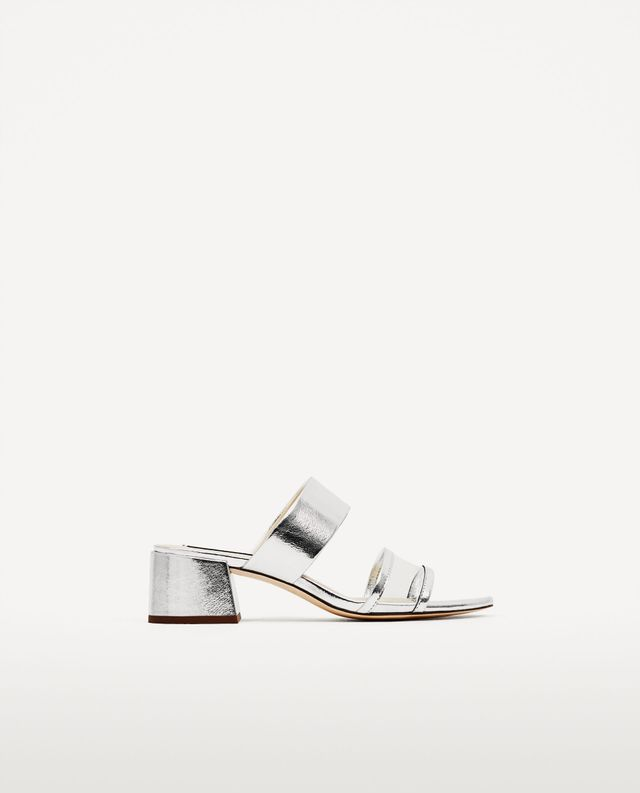 Zara Silved-Toned Mid Heel Sandals