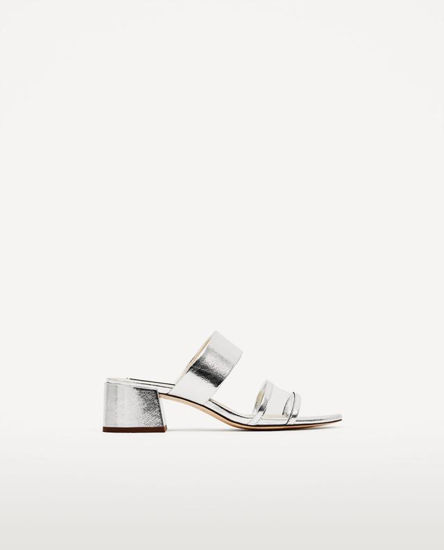 Zara Silved-Toned Mid Heel Sandals