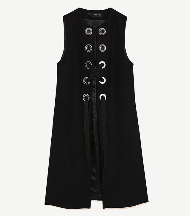 Zara Long Waistcoat With Metallic Details