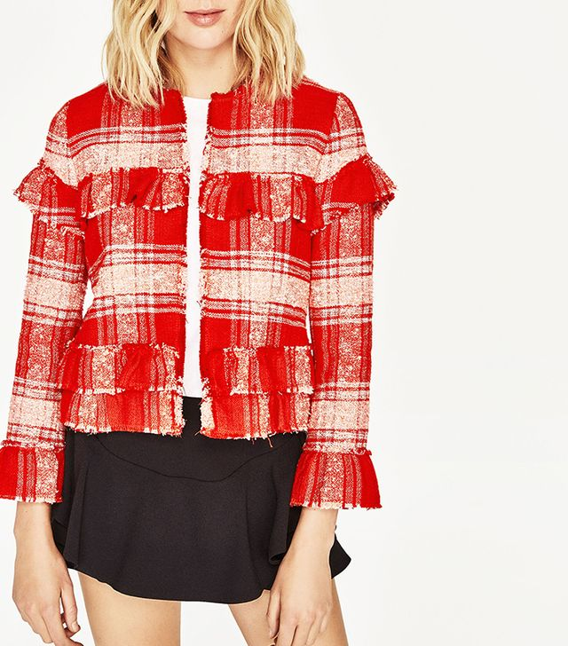 Zara Short Cardigan With Frills