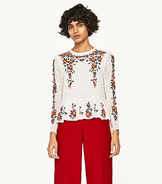 Zara Embroidered Plumetis Blouse