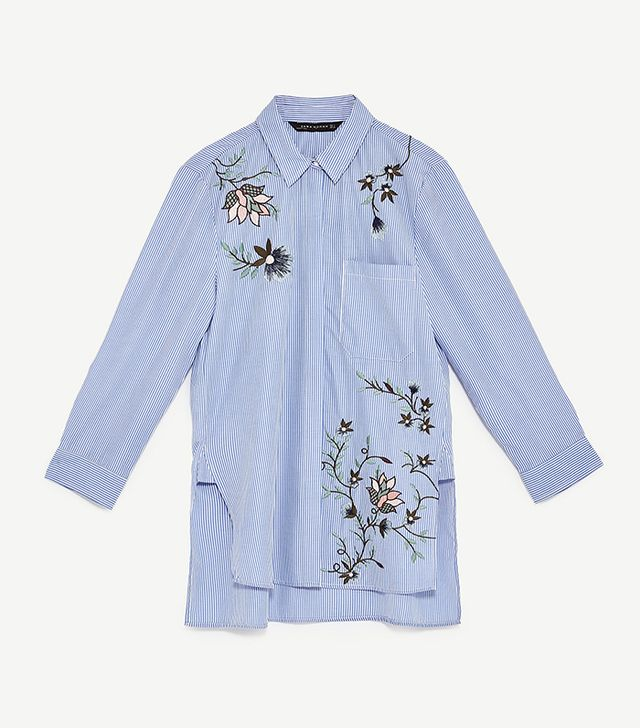 Zara Embroidered Striped Poplin Shirt