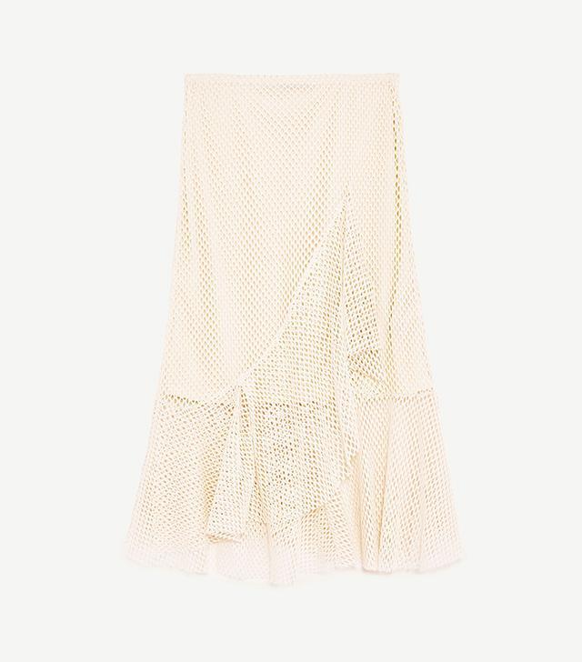 Zara Mesh Skirt With Frills