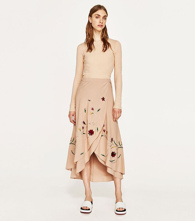 Zara Floral Embroidered Sarong Skirt
