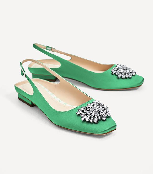 Zara Flat Slingback Shoes With Beaded Appliqué