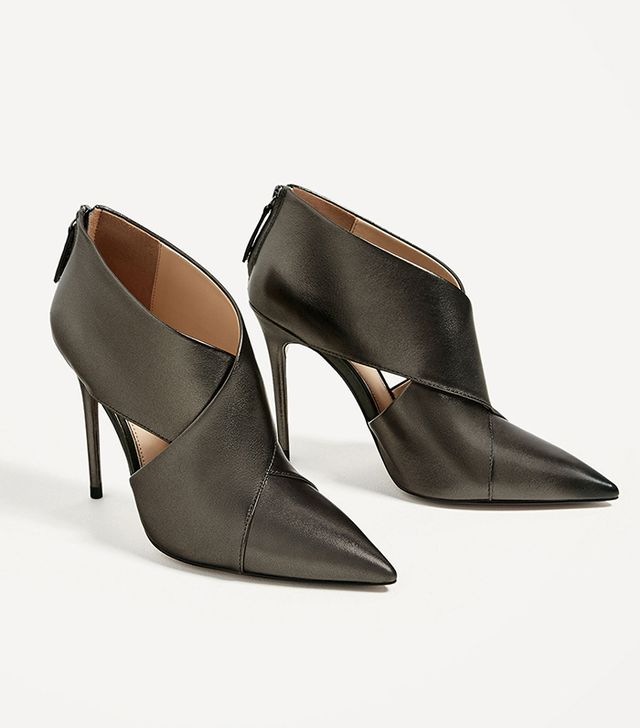 Zara Wrap Around Leather High Heel Ankle Boots