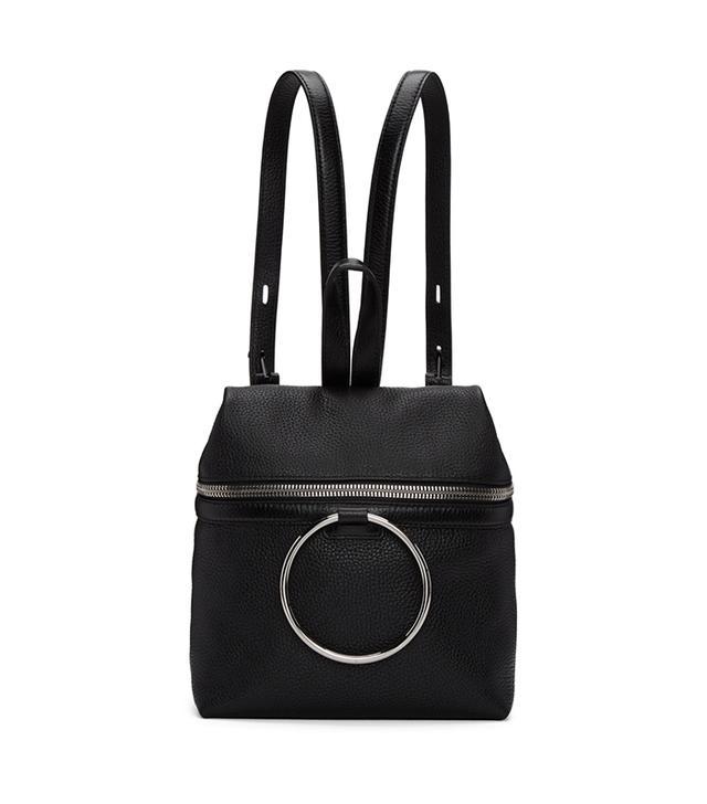 Kara Black Small Ring Leather Backpack