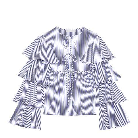 Nina Ruffled Striped Cotton Oxford Jacket